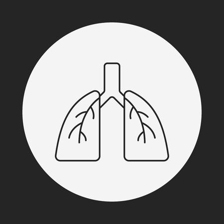 respiration: organ lung line icon