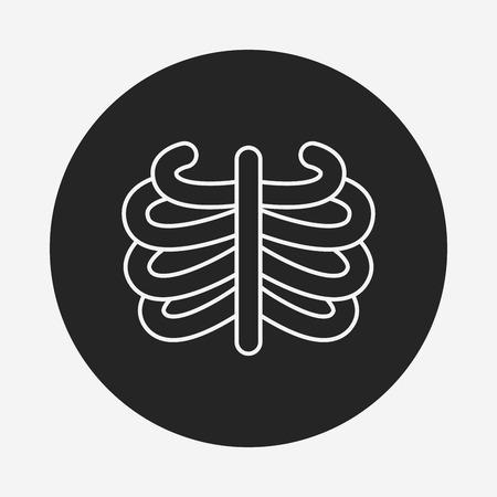 cross bone: Skeleton line icon Illustration