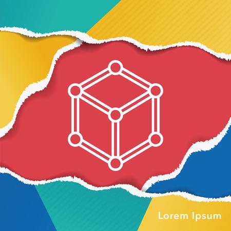 atomic nucleus: Molecular modeling line icon Illustration