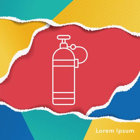 pressure bottle: Oxygen bottles line icon Vectores