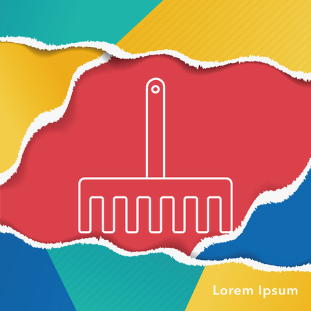 raking: gardening shovel line icon
