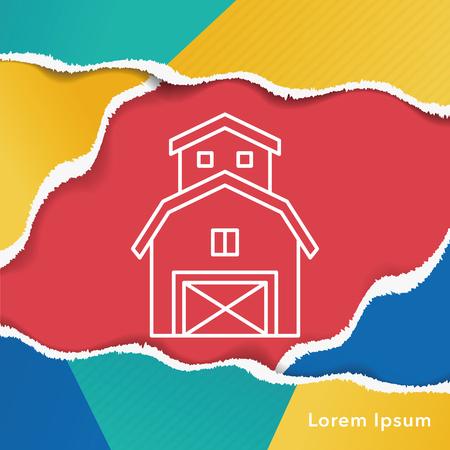 yard sign: barn line icon Illustration