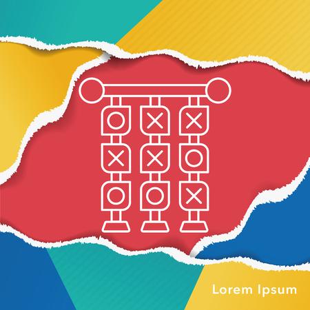 x games: Tic Tac Toe line icon Illustration