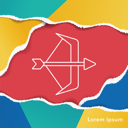 indian weapons: Bow and arrow line icon Illustration