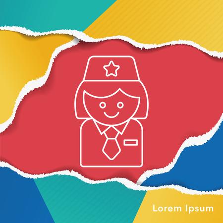 flight crew: flight attendant line icon