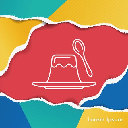 gelatina: pudding jelly line icon