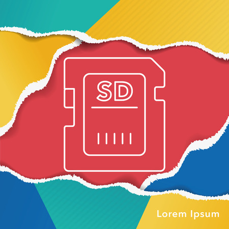 sd: camera SD card line icon