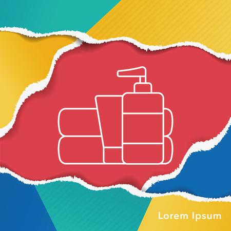 articulos de baño: Icono de artículos de tocador de línea Vectores