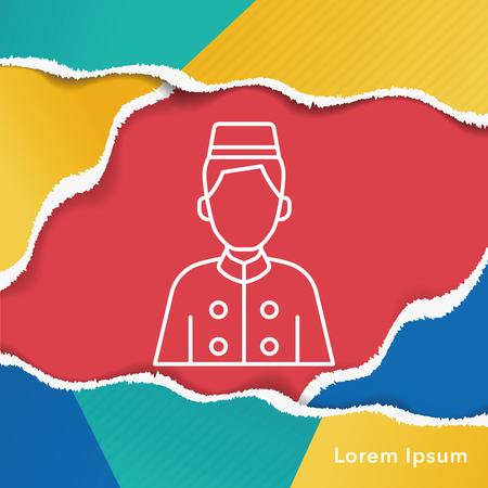 bellman: hotel bellman line icon Illustration