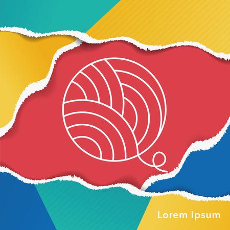 Yarn ball line icon