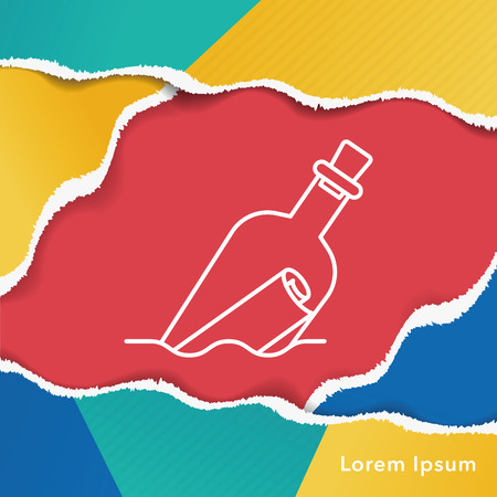 message in a bottle: Message in a Bottle line icon