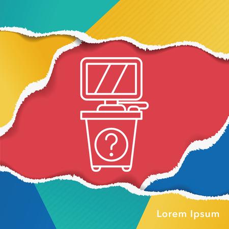 desk: information desk line icon Illustration