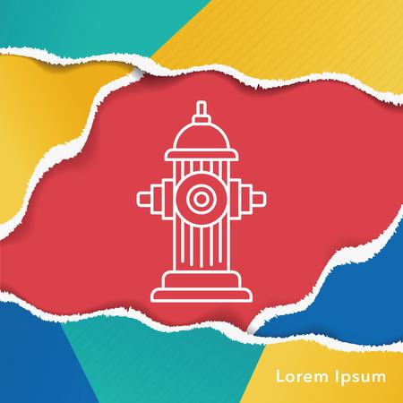 borne fontaine: Feu ic�ne de la ligne de bouche Illustration