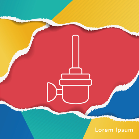 Toilet plunger and brush line icon 일러스트