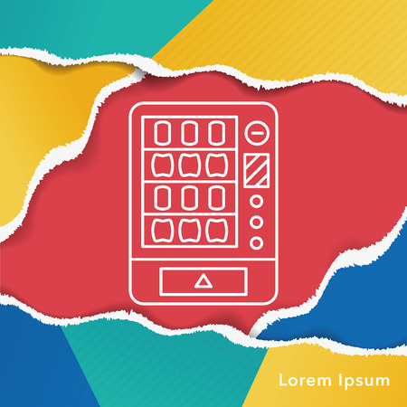distribution automatique: vending machine line icon Illustration