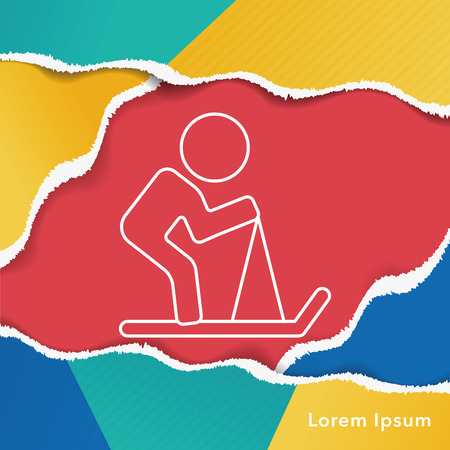 slalom: skiing line icon