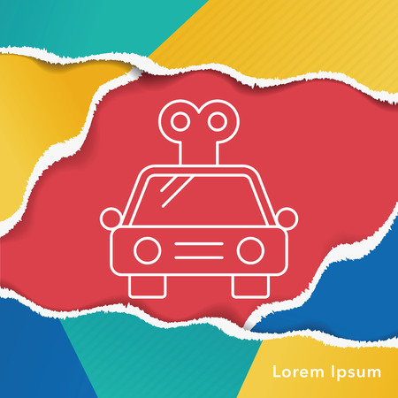 baby toy: baby toy car line icon Illustration