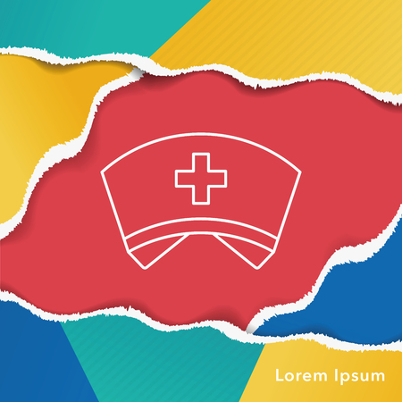 nursing uniforms: nurse hat line icon Illustration
