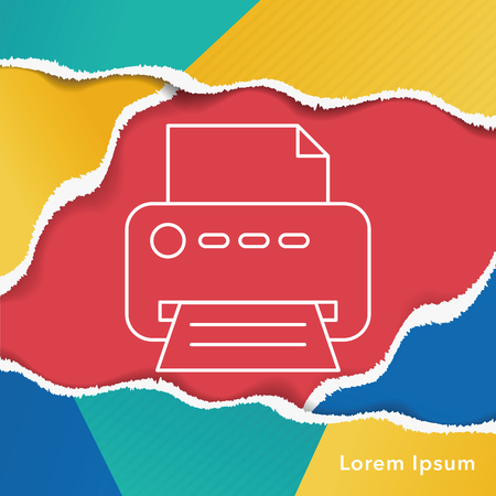 inkjet: printer line icon Illustration