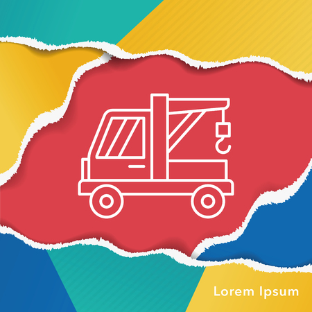 tow: Tow truck line icon Illustration