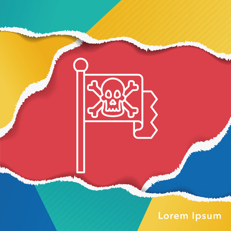 pirate flag: pirate flag line icon