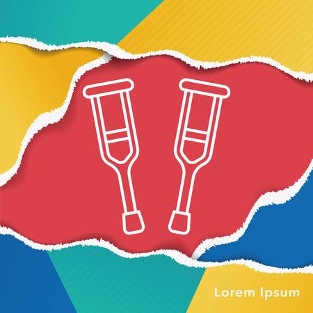 crutch: Crutch line icon Illustration