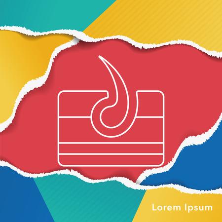 dermis: Hair root line icon Illustration
