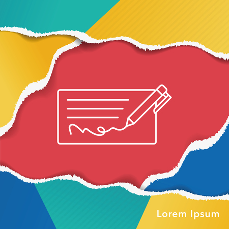 personal banking: money check line icon Illustration