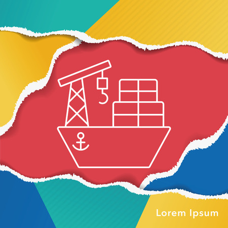 marine industry: ship boat line icon Illustration
