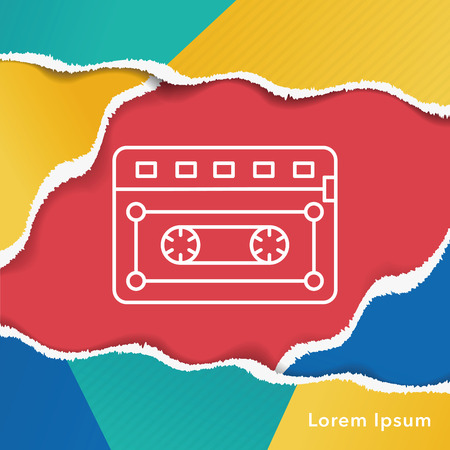 tape line: music tape line icon Illustration