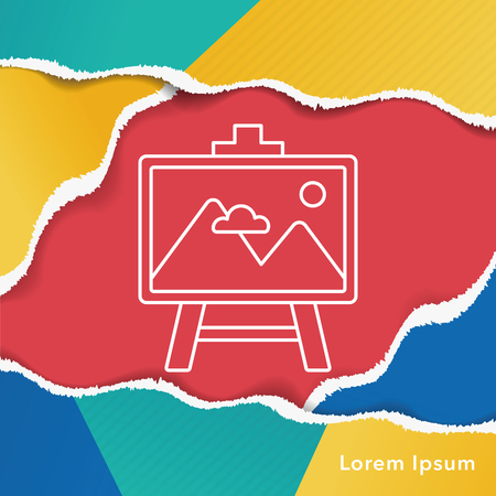 framed picture: painting artwork line icon Illustration