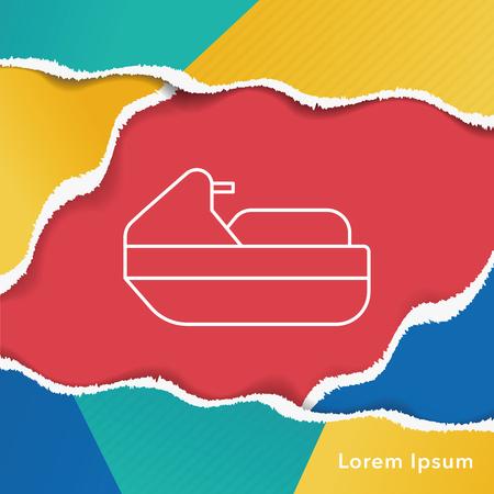 marine industry: water motor line icon