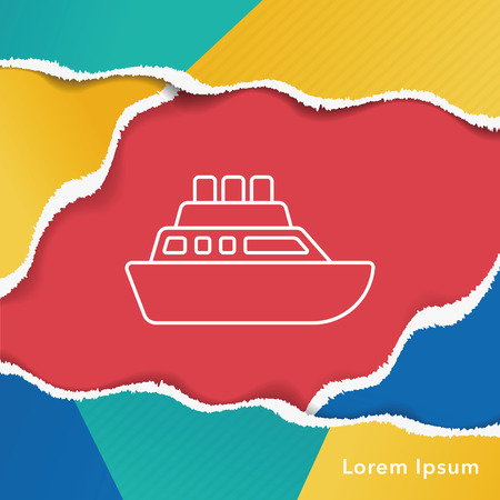 cruising: ship boat line icon Illustration