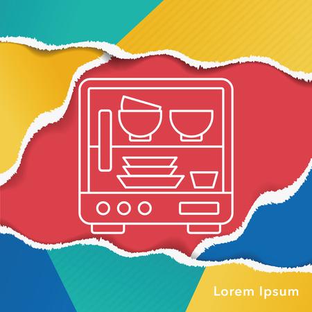 lavavajillas: icono de línea de lavavajillas
