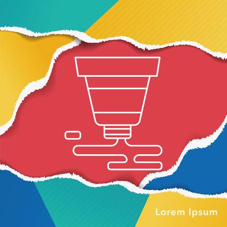 pigment: Pigment paint line icon Illustration