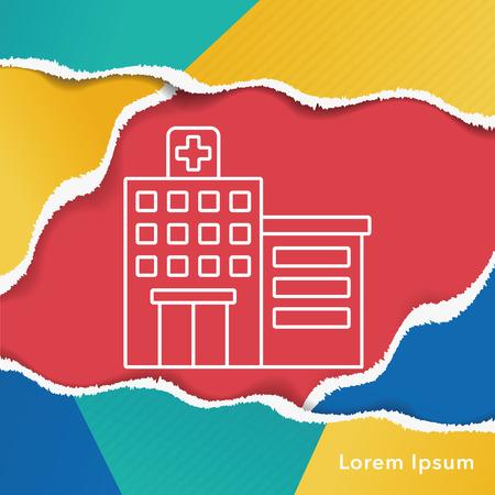 hospital icon: hospital line icon Illustration