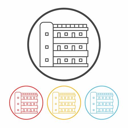black pictogram: building line icon Illustration