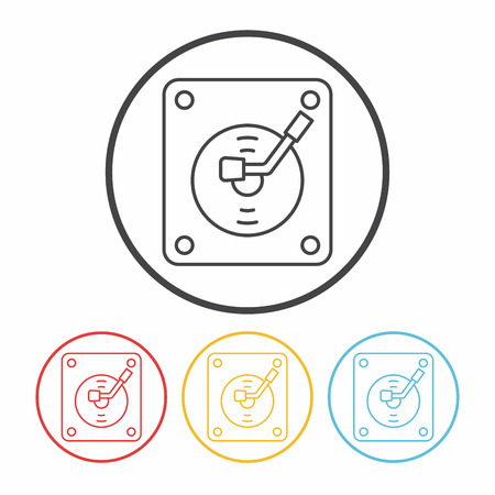 vinyl disk player: record player line icon Illustration