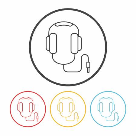 portable audio: headphone line icon Illustration