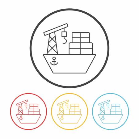 ship boat line icon 向量圖像