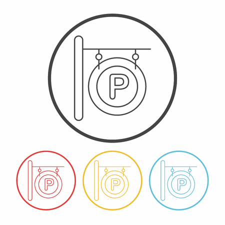 parking sign: parking sign line icon Illustration