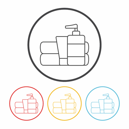 productos de aseo: Icono de artículos de tocador de línea Vectores