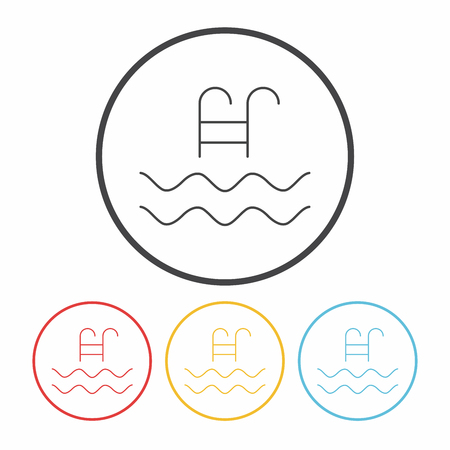 no diving sign: swimming pool sign line icon Illustration