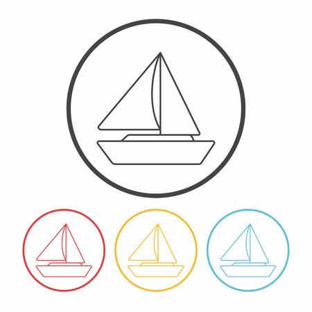 marine industry: ship boat line icon Illustration