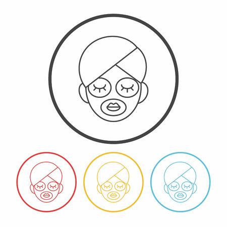 facial: Facial mask line icon Illustration