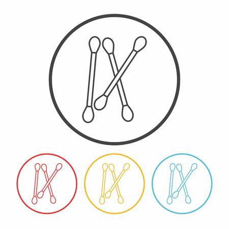 cotton: Cotton swabs line icon Illustration