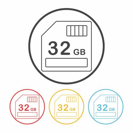 micro drive: camera SD card line icon