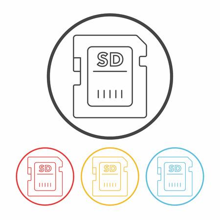 sd card: camera SD card line icon