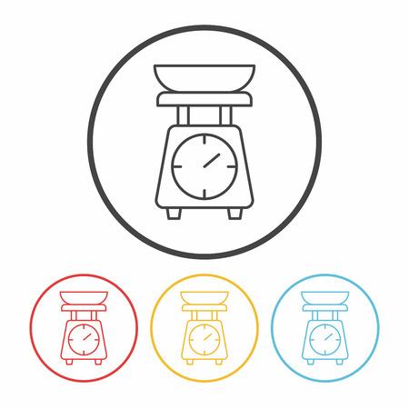 weighing machine: Weighing machine line icon Illustration