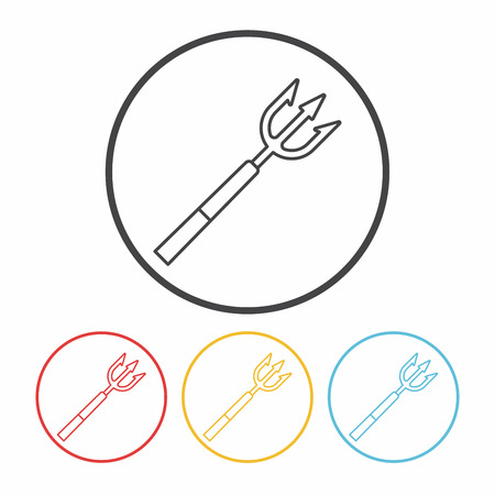 harpoon: Fish spear line icon Illustration